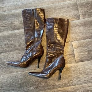 Brown leather pointed toe high heel boots 36